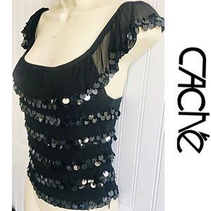 CACHE 100% Silk Black Cap Sleeve Sequin Blouse 4